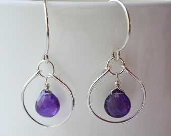 Amethyst and Sterling Silver Circle Earrings Handmade Wire Wrapped