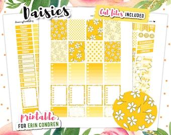 Flower Planner Stickers, Erin Condren Planner Stickers, Weekly Planner, Floral Stickers, July Sticker Kit, Daisies Stickers