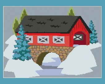 Covered Bridge In The Winter Cross Stitch Pattern in PDF for Instant Download