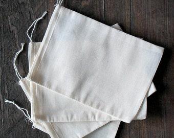 300 compter 5 x 7 pouces naturel coton mousseline cordon sacs priorité d'expédition
