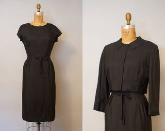 Uptown Girl / Silk 1950s Black Wiggle Dress w/ Cropped Jacket
