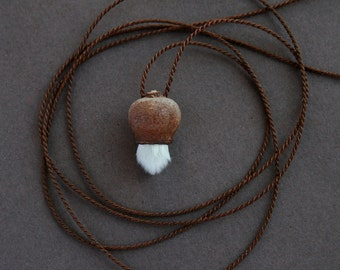 tiny treasure - pendant necklace with willow catkin - delicate natural jewelry - eco friendly - earthy