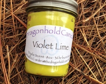 Violet Lime 8oz Hand Poured Candle, Soy-Paraffin, Triple Scented