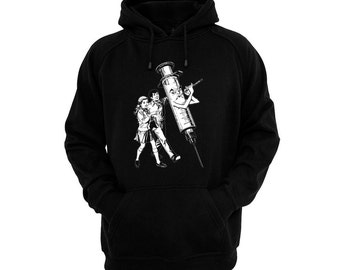 Pied Piper Syringe - Hand silk-screened, pre-shrunk cotton blend pullover hoodie- Drugs - Heroin Chic