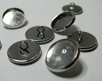 8pieces: 4 blank buttons 12mm pp and 4cabochons sewing