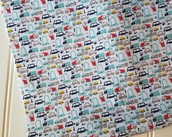 Riley-Blake-Designs-Fabric-By-The-Yard-Holiday-Mini-Cars-Blue-Yellow-Red-Fat-Quarters-Sewing-DIY-Projects-Crafts-Supplies