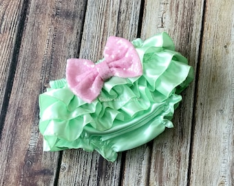 Baby girl clothes, mint green and pink or white, infant bloomer, infant girl, baby diaper cover, newborn girl outfit, 1st birthday
