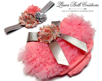 Baby Bloomer Set, Coral Chiffon Ruffle Bloomer and Headband, Photo Prop Set, Newborn Bloomer, Vintage Pink Bloomer, Ruffle Diaper Cover