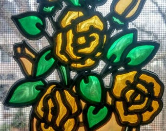 Stained glass window decor yellow and green bouquet Spring flowers