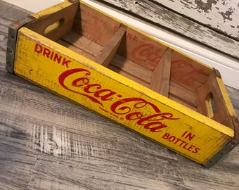 Vintage 1964 Yellow Drink Coca Cola in Bottles Have a Coke Wood Soda Crates (166)