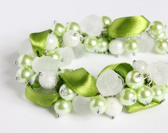 Lime Green White Rose Cluster Bracelet and Earrings Set