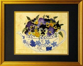 Pansy Teapot pansies pansy art teapot art pansy prints gardening gifts tea art