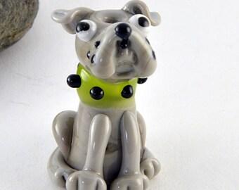 PUPPY dog, guard puppy sculpture focal glass lampwork bead, Izzybeads SRA