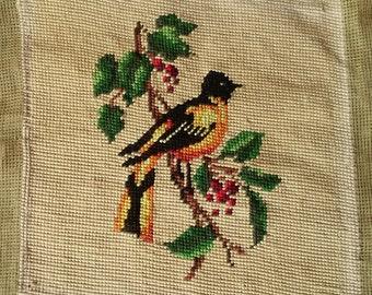 Vintage Antique  Needlepoint Bird