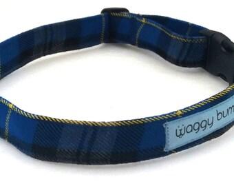 Plaid Dog Collar, Tartan, Dog Tweed, Collar, Personalized, Custom Made, Adjustable Collar, Blue Dog Collar, Dog Leash, Fleece Dog Collar