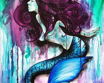 """Purple hair female Mermaid acrylic painting print 8""""x10"""" underwater sealife ocean artwork"""