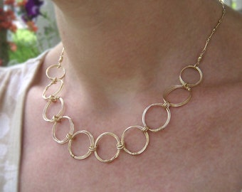 Gold Circles Necklace Gold Rings Necklace Large Link Gold Chain Necklace Infinity Necklace Geometric Wire Jewelry