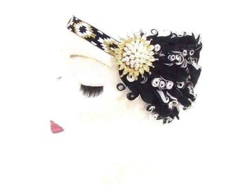 Black White Gold Feather Headband 1920s Flapper Headpiece Great Gatsby Vtg 2782