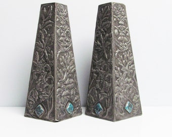 Two Art Nouveau Vase Pewter embossed repoussé, arts and crafts, floral cabochon turquoise, handmade, triangle square mantel