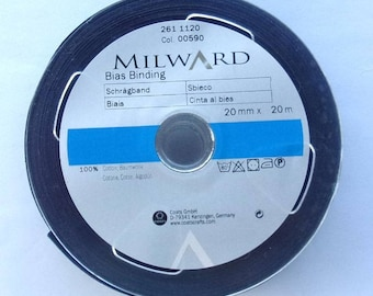 Folded bias - 20metres - color blue - 20 mm wide roll - REF.  1120