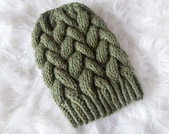 Sage Braided Cable Beanie