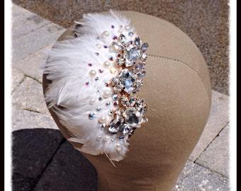 Ivory Feather Pearl Swarovski Crystal Bridal Haircomb