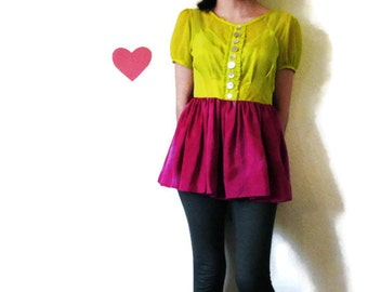 S. Size small women's 2-4 Chartreuse and Fuchsia Silk Blouse with Peplum