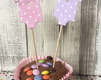 Baby girl vest cupcake toppers