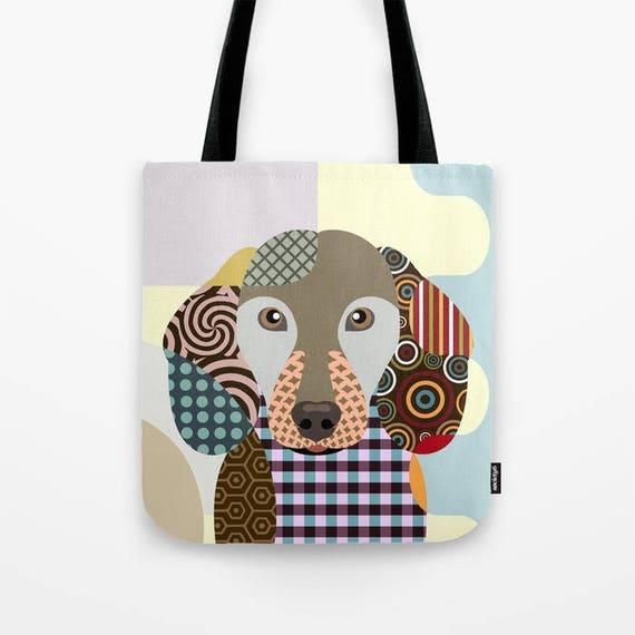 Dachshund Bag, Dachshund Gifts, Dachshund Art Print,  Dog Tote Bag, Dog Lover's Gift, Animal Lover Gift, Pet Tote Bag