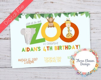 Zoo Printable Birthday Invitation