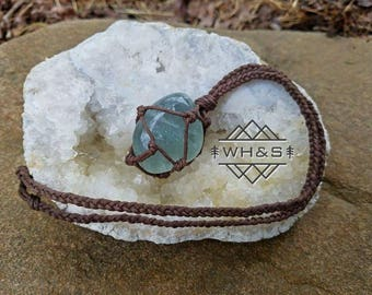 Hemp Wrapped Green Fluorite Necklace, Polished Fluorite Jewelry, Healing Crystal Jewelry, Healing Crystal Necklace, Stone Pendant