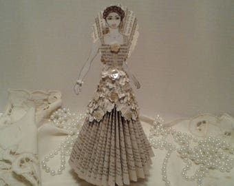 Book Sculpture, Altered Book Art, Paper Doll, Book Page Doll, Paper Lady, Recycled Book Art, Gift for Doll Lover, Doll Collector