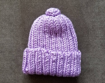 Adorable purple handmade knitted hat size 0-3 months