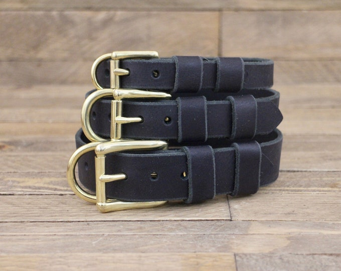 Leather collar, FREE ID TAG, Collar, Brass hardware, Dog gift,  Charcoal black, Handmade leather collar, Dog collars, Pet supplies.