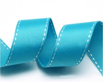 5Yards Jade/White Grosgrain Stitch Ribbon - 5mm(2/8''), 10mm(3/8''), 15mm(5/8''), and 25mm(1'')