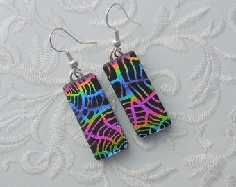 Rainbow Earrings - Dichroic Fused Glass Earrings - Glass Earrings - Dichroic Earrings - Dichroic Jewelry - Hippie Earrings 7416