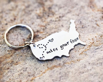 USA Keychain, Long Distance Relationship Keychain,  BFF Gift, Choose your states, custom made, BFF gift, girlfriend gift, going away gift