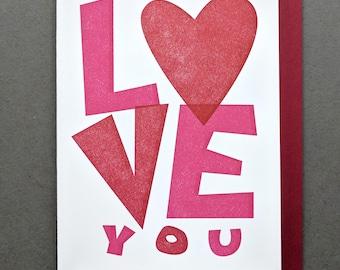 I Love You Cut Paper Classic Letterpress Valentines Card, Valentine Card Him, Valentines Day Card, Wedding Card, Engagement Card