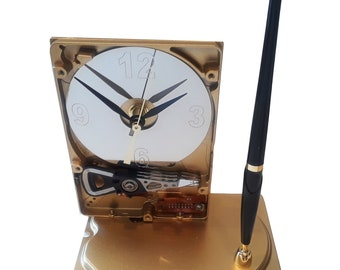 Pen Holder Hard Drive Clock. Cool Office Gift Clock, Teacher Gift Clock, Business Award Clock. Desk Set. Unique Clock. Gold Enamel Finish.