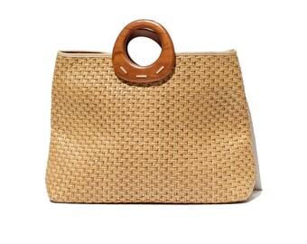 Tan Woven Straw Tote Bag