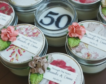 Anniversary Favors / Wedding Favors / 40 4oz Soy Candles / Your Year/Birthday/classic bouquet / cream / roses / red roses / dusty rose