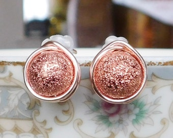Rose Gold Stardust Earrings , New Year's Eve Earrings , Rose Gold Studs , Sparkle Earrings