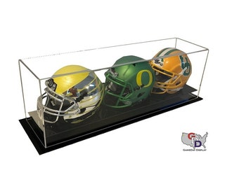 Acrylic Desk Counter or Table Top Triple Mini Helmet Display Case by GameDay Display
