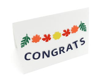 Mini Banner Card 'Congrats' with Tropical Flowers and Leaves - Navy Blue