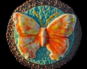 Butterfly Mosaic Belt Buckle OAK