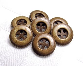 """Finely Grained Style: 9/16"""" (14mm) Faux Wood Buttons - Set of 7 Vintage New Old Stock Buttons"""