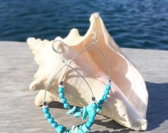 Turquoise stone hooped earrings