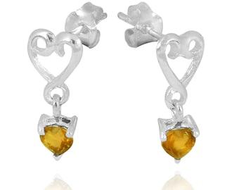 Citrine Sterling Silver Stud Earrings