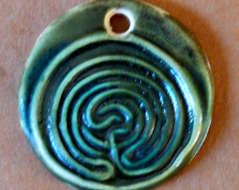 Large Labyrinth Ceramic Bead in Green - Pendant Bead with Extra Large Hole