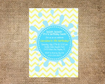 Pool birthday party invitation, splish splash, personalized and printable, 5x7